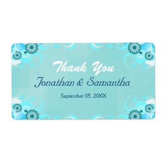 Favor grande floral del boda del trullo azul etiquetas de envío