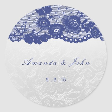 Favor Ivory Silver Blue Navy Lace Thank You Classic Round Sticker