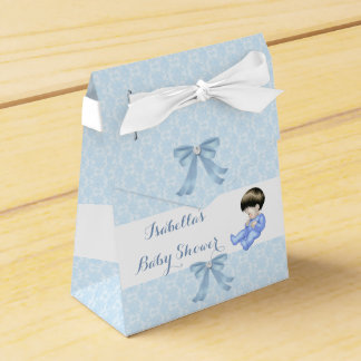 Favor lindo azul 2 del damasco del bebé de la cajas para regalos
