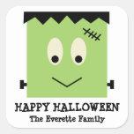 Favor lindo verde del feliz Halloween de Frankenst Calcomania Cuadradas Personalizada