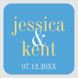 Favor moderno del boda de la tipografía del amaril calcomania cuadradas personalizada