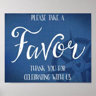 favor nautical wedding sign navy blue