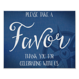 favor nautical wedding sign navy blue poster