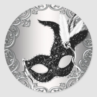 Favor negro de plata del sello del sobre de la mas etiquetas redondas