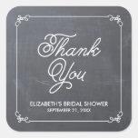 Favor nupcial de la ducha de la pizarra elegante calcomanías cuadradas