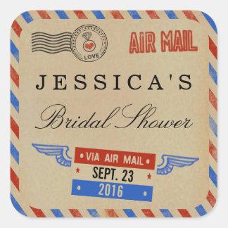 Favor nupcial de la ducha del correo aéreo del pegatina cuadrada