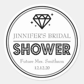 Favor nupcial de la ducha del diamante brillante pegatina redonda
