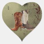 Favor occidental del boda de las botas de vaquero colcomanias corazon personalizadas