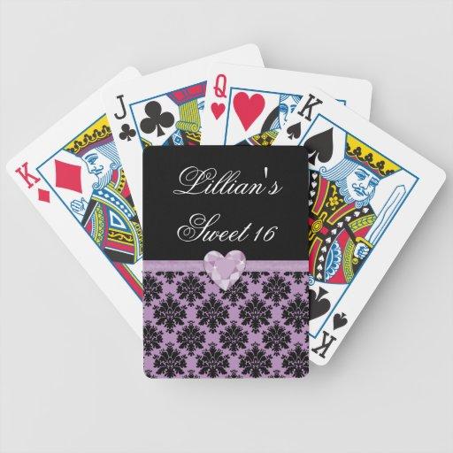 Favor púrpura del naipe del cumpleaños del corazón baraja de cartas