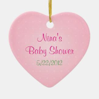 Favor rosado de la fiesta de bienvenida al bebé de adorno de cerámica en forma de corazón