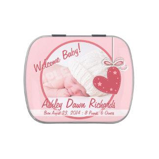 Favor rosado de la foto del bebé del corazón frascos de caramelos