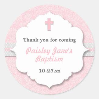 Favor rosado del bautizo del bautismo del chica de pegatina redonda