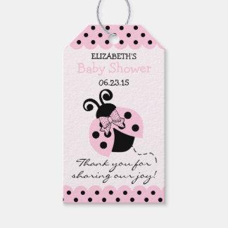Favor rosado y negro de la huésped de la fiesta de etiquetas para regalos