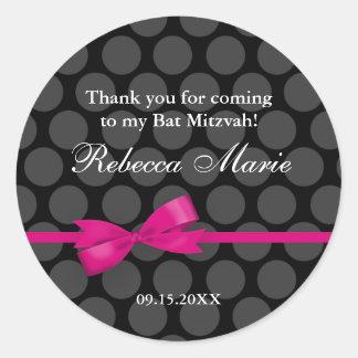 Favor rosado y negro de Mitzvah del palo del arco Etiqueta