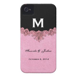 Favor rosado y negro V30 del boda del monograma iPhone 4 Funda