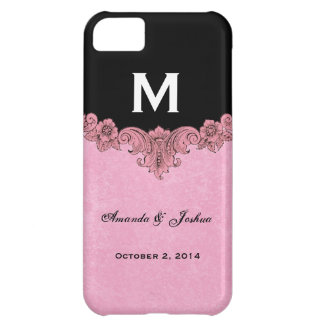 Favor rosado y negro V30 del boda del monograma Funda Para iPhone 5C