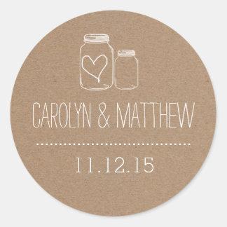 Favor rústico Sticker2 del boda del corazón del Pegatina Redonda