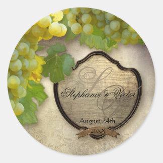 Favor Seals Chardonnay Wine Grapes Rustic Wedding Classic Round Sticker