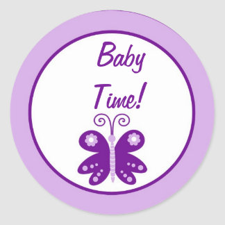 Favor Stickers Couple Purple Spring Time Butterfly