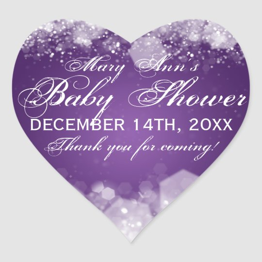Favor Tag Baby Shower Night Sparkle Purple