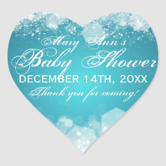 Favor Tag Baby Shower Night Sparkle Turquoise Heart Sticker
