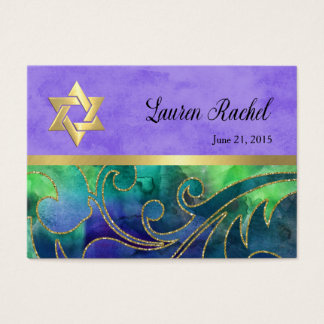 Favor Tag Purple Green Watercolor Gold Accents