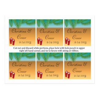 Favor Tags Assorted His/Hers Sandals On Beach plam Postcard