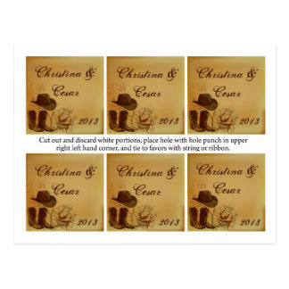 Favor Tags Assorted Western Cowgirl Hat/Boots Brow Post Card