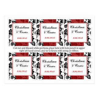 Favor Tags Black Flourish Red Stripe Post Card