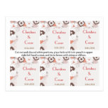 Favor Tags Coral Pink Brown Floral Flowers Post Card