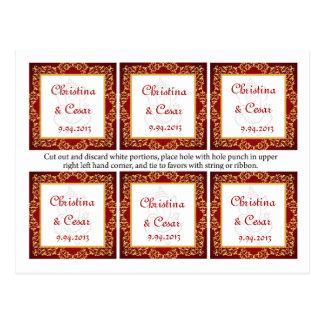 Favor Tags Lord Ganesha/Hindu Red Spiritual Red ma Postcard