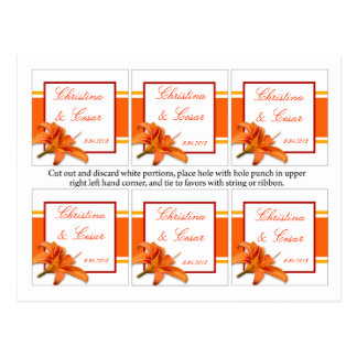 Favor Tags Orange Tiger Lilly w/Stripes Red Yellow Postcard