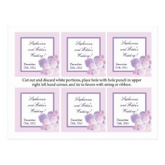 Favor Tags Purple Hydrangea Post Cards