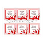 Favor Tags Red Cherry Blossom Postcards
