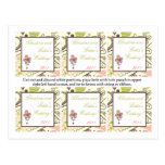 Favor Tags Spring Pink/Green Floral Post Card
