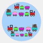 Favor temático de la fiesta de cumpleaños del tren pegatinas