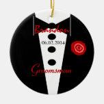 Favor Tux conocido de encargo del boda del padrino Ornamento Para Arbol De Navidad