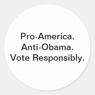 Favorable América. Botón anti de Obama Pegatina Redonda