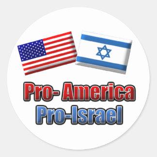 Favorable-América/Israel Pegatina Redonda