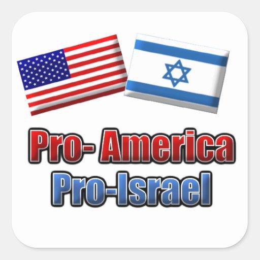 Favorable-América/Israel Pegatinas Cuadradases