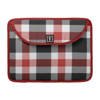 Favorable manga del mac rojo y negro del tartán funda para macbook pro