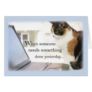 Favorable ordenador del gato de 3588 Admin, humor Tarjeta De Felicitación