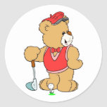 Favorable oso de peluche de golf etiquetas