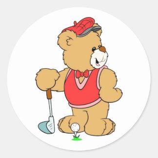 Favorable oso de peluche de golf pegatina redonda
