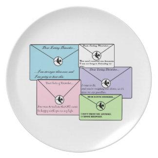 Favorable placa de la recuperación del estimado platos de comidas