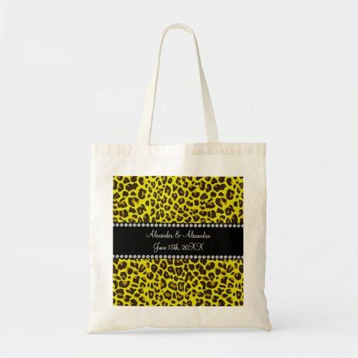 Favores amarillos del boda del leopardo bolsas lienzo