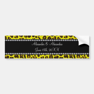Favores amarillos del boda del leopardo pegatina de parachoque