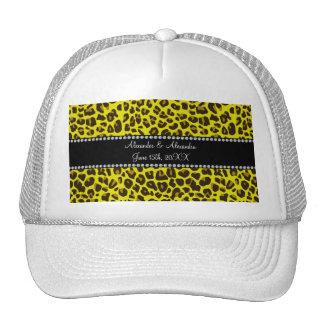 Favores amarillos del boda del leopardo gorra