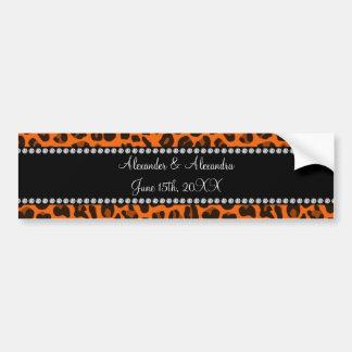 Favores anaranjados del boda del estampado leopard pegatina de parachoque