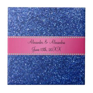 Favores azules del boda del brillo azulejo cuadrado pequeño